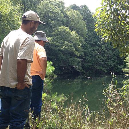 水源の池。沼の様なガス湧きも無いし、水の心配は無いのはいいよね。