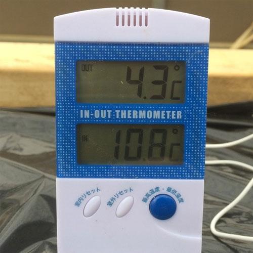 室温10℃超えてるんだけどね。内部は4.3℃..._o□_