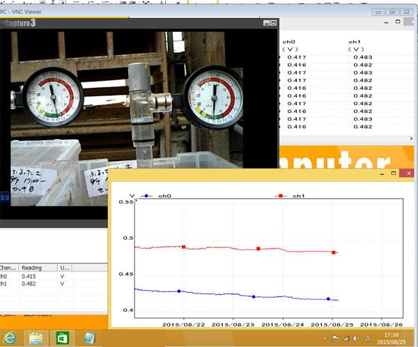 土壌乾燥試験、リアルタイム計測中!